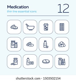 Medication icon set. Line icons collection on white background. Tablet, pill, painkiller. Supplement concept. Can be used for topics like healthcare, illness, pharmacy