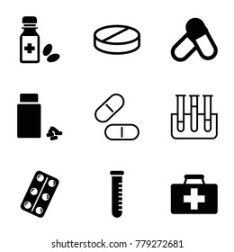 Medication icons. set of 9 editable filled and outline medication icons such as pill, first aid kit, medicine, medical pills, medicine bottle