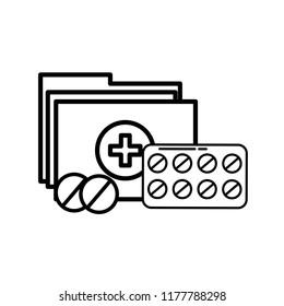 medication pills and folder file medical