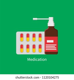 Medication poster with inhaler glass bottle and strip of pills. Capsules blister for treatment and patients recovery isolated on vector illustration