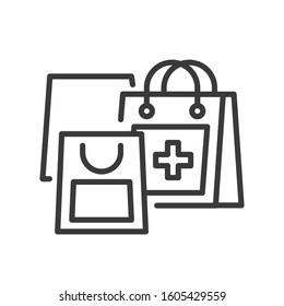 Medication purchase line black icon. Sign for web page, mobile app, button, logo. Vector isolated template. Editable stroke.