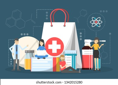 Medication set. Collection of pharmacy drug and first aid. Medicine pill for disease treatment. Drugstore concept. Flat vector illustration