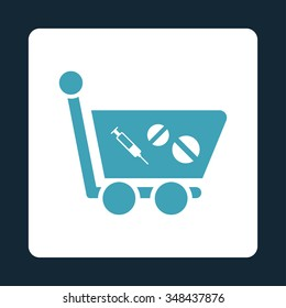 Medication Shopping Cart vector icon. Style is flat rounded square button, blue and white colors, dark blue background.