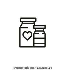 Medications line icon. Two plastic packs, pills, treatment. Pharmaceutical concept. Vector illustration can be used for topics like apothecary, pharm store, hospital