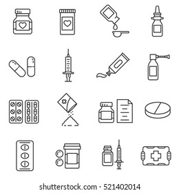 Medications Pharmaceutical drugs in different packages, linear symbols collection. isolated vector illustration.