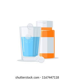 Medications vector concept. Pill bottle and glass of water in flat style on white background