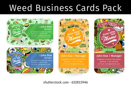 Medicinal Cannabis Recreational Marijuana Business Card Pack with Leaf Buds Symbols on the Background Vector Art Design Illustration