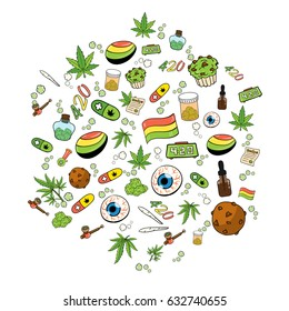 Medicinal Cannabis Recreational Marijuana Leaf Buds Symbol Icons in Hexagon Shape Vector Art Design Illustration