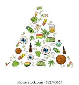 Medicinal Cannabis Recreational Marijuana Leaf Buds Symbol Icons in Triangle Shape Vector Art Design Illustration