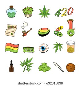 Medicinal Cannabis Recreational Marijuana Leaf Buds Symbol Icon Set Pack Vector Art Design Illustration