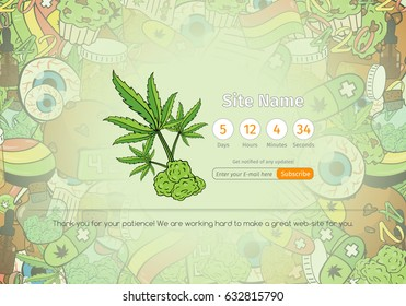 Medicinal Cannabis Recreational Marijuana Web-site Launch Countdown Page with Leaf Buds Symbols on the Background Vector Art Design Illustration