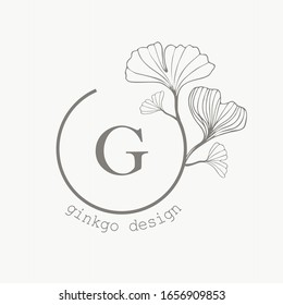 Medicinal ginkgo biloba leaves green icon in trendy hand-drawn style, isolated vector round logo natural. Template for packaging cosmetics, medicines, biological additives, natural products.