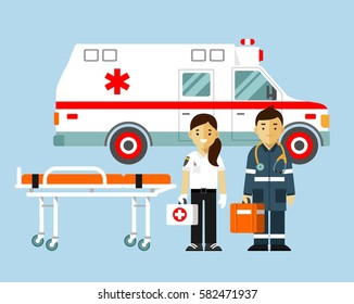 Medicine ambulance concept in flat style isolated on blue background. Young doctor paramedic man and woman, ambulance car, stretcher