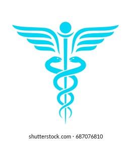Medicine ancient vector emblem on white background