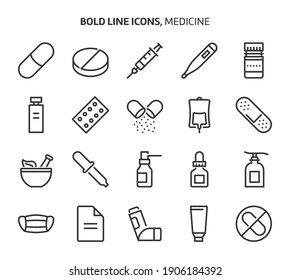 Medicine, bold line icons. The illustrations are a vector, editable stroke, 48x48 pixel perfect files. Crafted with precision and eye for quality.