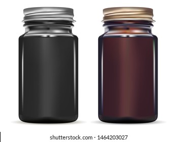 Medicine Bottle. Glossy Black Glass Jar Mockup Set. Brown Glass Supplement Container. Pill, Oil or Syrup Vial. Realistic 3d Medicament Drug Packaging with Screw Cap. Pharmaceutical Medicament Box