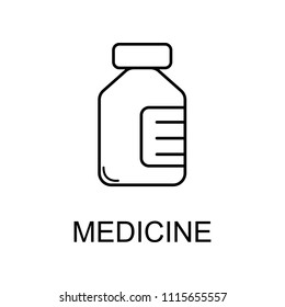 medicine bottle line icon. Element of medicine icon with name for mobile concept and web apps. Thin line medicine bottle icon can be used for web and mobile on white background