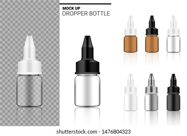 Medicine Bottle Mock up Realistic transparent Amber, white, black and glass ampoule or dropper plastic Packaging. for Food and Health Care Product on white Background Illustration.