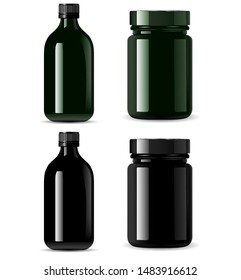 Medicine Bottle Mockup. Black Cosmetic Packaging Container Blank Realistic 3d Illustration Design. Medical Drug Container. Aronatherapy or Essence Flacon. Treatment Vial