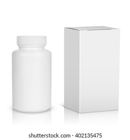 Medicine bottle on white background. White plastic bottle, cardboard packaging