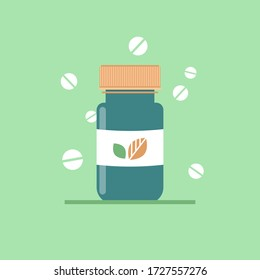 Medicine bottle with organic vitamin pills on green background. Healthcare and pharmacy. Vector illustration in flat style. Medical concept