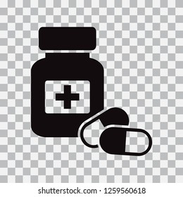 Medicine bottle and pills. Black icon isolated on transparent background. Vector illustration