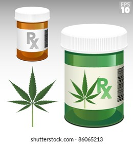 Medicine bottle with Rx symbol and medical marijuana green bottle