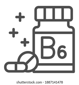 Medicine bottle with vitamins line icon, Gym concept, vitamin B supplement sign on white background, Bottle of pills icon in outline style for mobile concept and web design. Vector graphics