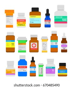 Medicine bottles flat set. Pharmacy plastic pill containers, bags and supplies, vials with child-resistant caps. Bottle whith lable. Flat style vector illustration isolated on white background