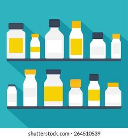 Medicine bottles set. Flat design. Vector illustration