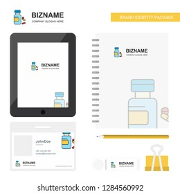 Medicine Business Logo, Tab App, Diary PVC Employee Card and USB Brand Stationary Package Design Vector Template