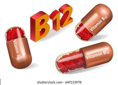 Medicine capsule pills.Vitamin B12. Pill with cobalamin. Alternative medicine. Isolated on white background.