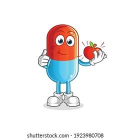medicine carry the key mascot. cartoon vector