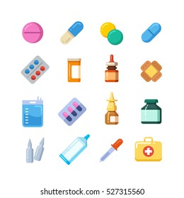 Medicine cartoon pill, drug, table, antibiotics, medication dose flat icons.