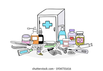 Medicine chest concept. Set of first aid elements. Hand drawn isolated vector illustration, doodle style