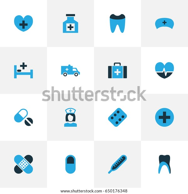 Medicine Colorful Icons Set. Collection Of Temperature, Sign, Dental And Other Elements. Also Includes Symbols Such As Thermometer, Tooth, Pellet.