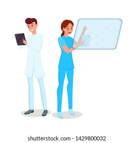 Medicine computerization flat vector illustration. Smiling young doctor and nurse with tablets cartoon characters. Smart medics working with portable devices, hospital staff with modern gadgets