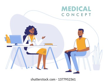Medicine concept with black doctor and patient. Practitioner african american doctor woman and young man patient in hospital medical office. Consultation and diagnosis.