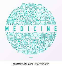 Medicine concept in circle with thin line icons: doctor, ambulance, stethoscope, microscope, thermometer, hospital, z-ray image, MRI scanner, tonometer. Vector illustration for medical survey, report.
