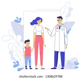 Medicine concept with doctor and family patients on plant background. Practitioner doctor man and young woman with child in hospital medical office. Consultation and diagnosis.