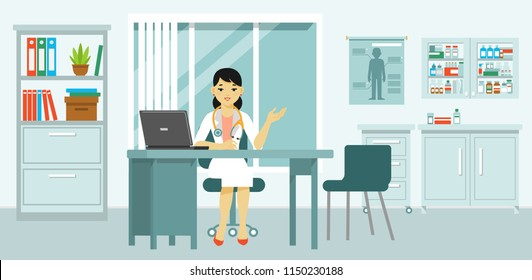 Medicine concept with doctor in flat style. Practitioner young doctor woman in hospital medical office. Consultation and diagnosis.
