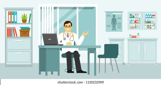 Medicine concept with doctor in flat style. Practitioner young doctor man in hospital medical office. Consultation and diagnosis.