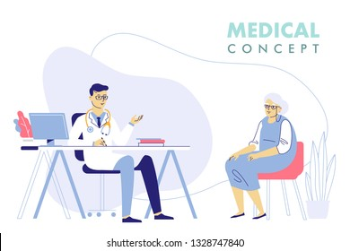 Medicine concept with doctor and old patient. Practitioner doctor man and senior woman patient in hospital medical office. Consultation and diagnosis.