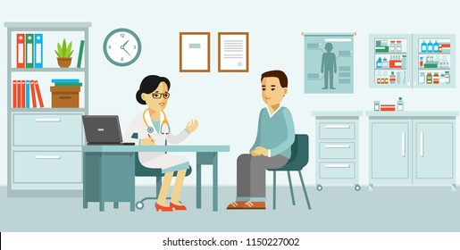Medicine concept with doctor and patient in flat style. Practitioner doctor woman and young man patient in hospital medical office. Consultation and diagnosis.