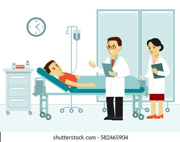 Medicine concept with doctor and patient in flat style isolated on white background. Practitioner man and young woman nurse in hospital medical office. Medical checkup and treatment