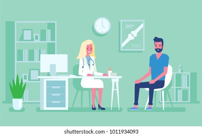 Medicine concept with a doctor and patient in hospital medical office. Consultation and diagnosis. Vector illustration flat style.
