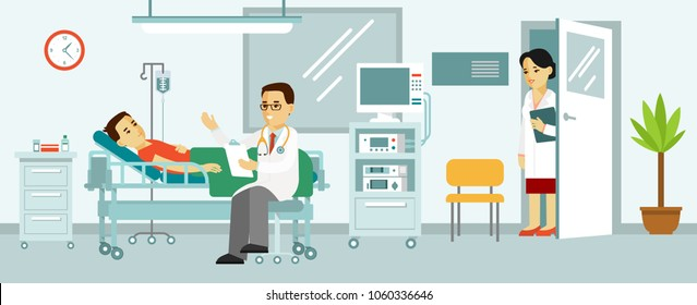 Medicine concept with doctor and patient in hospital room. Modern hospital ward interior with furniture and equipment. Consultation and medical diagnosis for sick man.