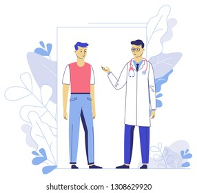 Medicine concept with doctor and patient on plant background. Practitioner doctor man and young boy patient in hospital medical office. Consultation and diagnosis.