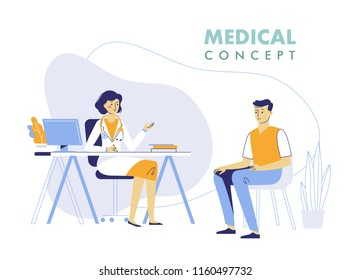 Medicine concept with doctor and patient. Practitioner doctor woman and young man patient in hospital medical office. Consultation and diagnosis.