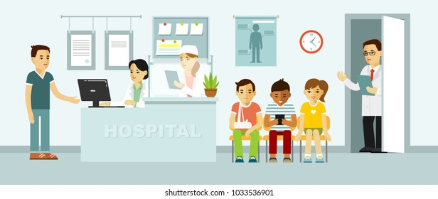 Medicine concept with doctor and patients in flat style on hospital hall background. Young doctor man and medical staff women in reception hospital. Consultation and medical diagnosis for illness peop